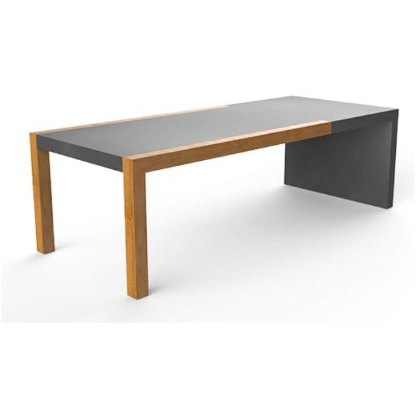 efecto Gartentisch Oliver Outdoor Tisch mit Eichenholz und Beton wetterfest anthrazit