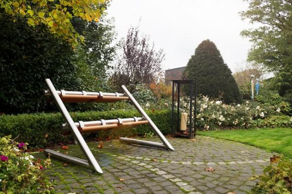Wendebank aus Edelstahl Standard im Garten