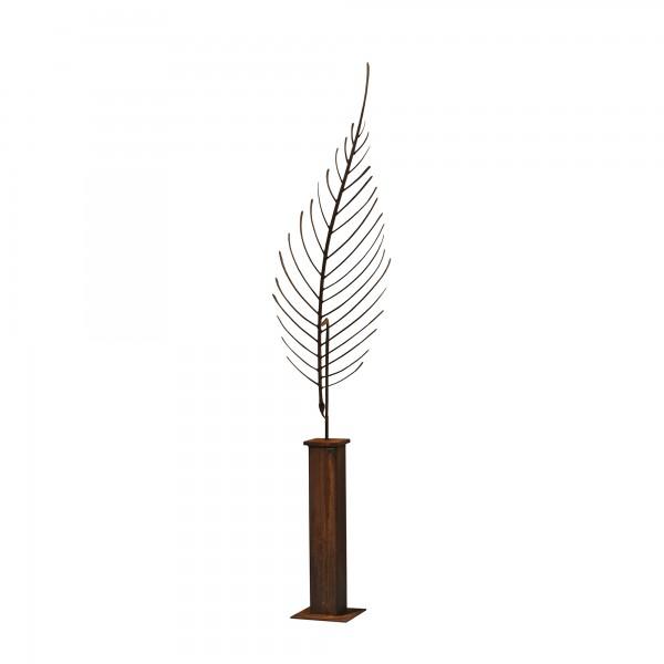 ums Metall Gartenskulptur. Kunstskulptur aus Stahl mit Edelrost.