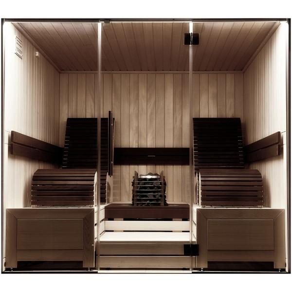 Premium Massivholz Sauna Mocca Exclusiv