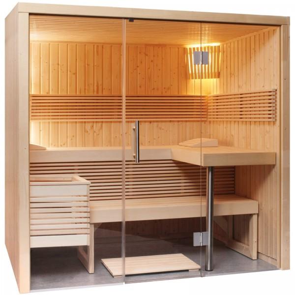 Sentiotec Harvia Panorama Massivholzsauna Indoor Saunakabinen